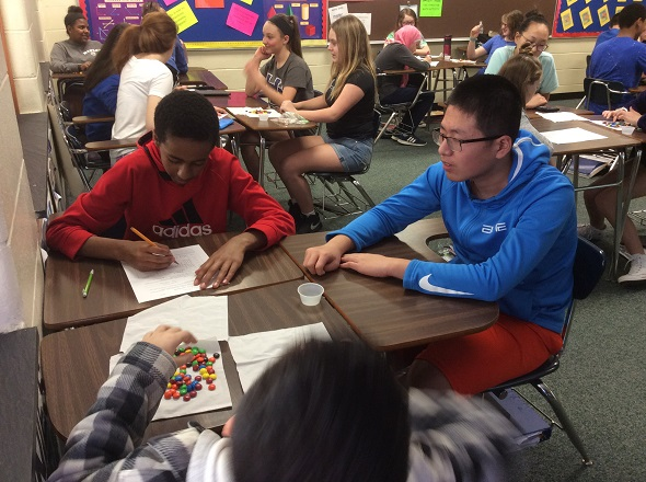 students using m&m's for math problems