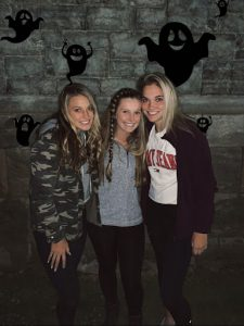 Abby Ullum (11), Avery Jantino(11), and Sydney Malehorn (11) standing in line for the Ohio State Reformatory. Photo taken by Jordan Thompson (11).