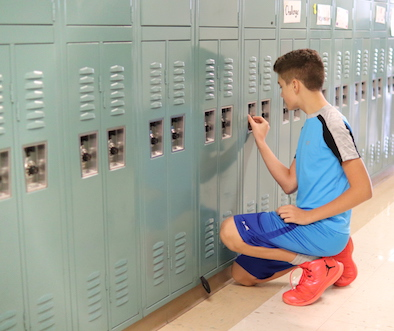 Student at their locker
