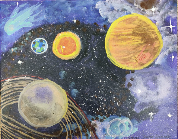 Art work of planets, winning entry
